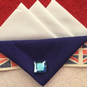 White Hankie With Dark Blue Flap and Pin